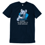Avoiding Spoilers t-shirt TeeTurtle navy t-shirt featuring a gray chinchilla sitting up against a blue pillow reading a book