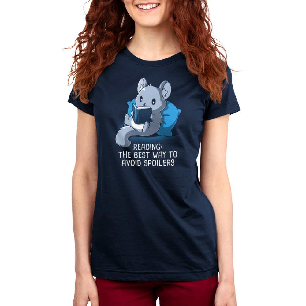 Avoiding Spoilers Women's t-shirt model TeeTurtle navy t-shirt featuring a gray chinchilla sitting up against a blue pillow reading a book