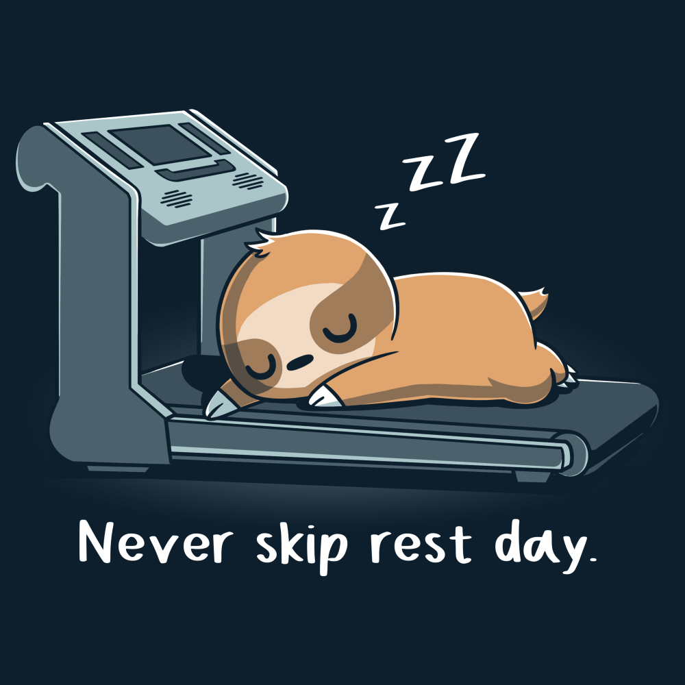 Never Skip Rest Day t-shirt TeeTurtle navy t-shirt featuring a sloth laying and sleeping on a treadmill with