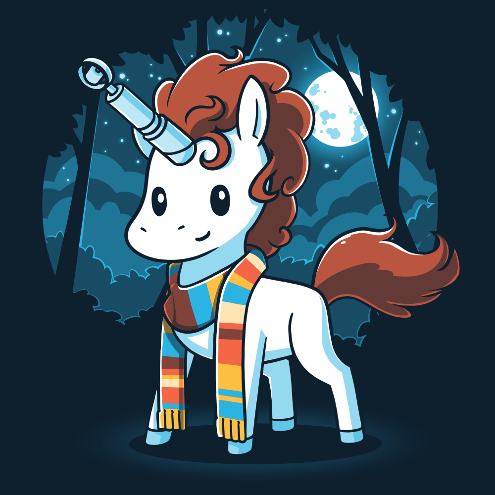 The Fourth Unicorn t-shirt TeeTurtle navy t-shirt featuring a white unicorn with brown hair with a multicolored scarf on with a sonic screwdriver and its horn and a dark forest and full moon background behind him