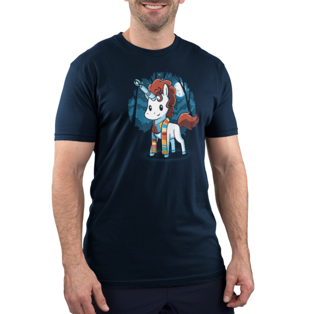 The Fourth Unicorn Men's t-shirt model TeeTurtle navy t-shirt featuring a white unicorn with brown hair with a multicolored scarf on with a sonic screwdriver and its horn and a dark forest and full moon background behind him