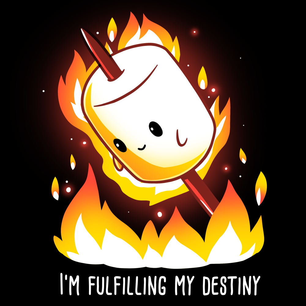 I'm Fulfilling My Destiny t-shirt TeeTurtle black t-shirt featuring a marshmallow on a stick lit on fire above flames