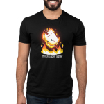 I'm Fulfilling My Destiny Men's t-shirt model TeeTurtle black t-shirt featuring a marshmallow on a stick lit on fire above flames
