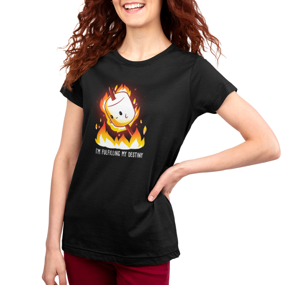 I'm Fulfilling My Destiny Women's t-shirt model TeeTurtle black t-shirt featuring a marshmallow on a stick lit on fire above flames
