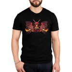 Dragon Master Men's t-shirt model TeeTurtle black t-shirt featuring a red dragon with its wings up and long horns looking angry and focused with a gamee board in front of him and flames on either side of the game table he is sitting at