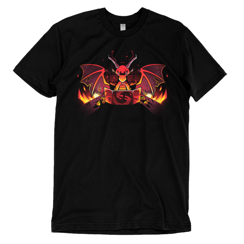 Dragon Master t-shirt TeeTurtle black t-shirt featuring a red dragon with its wings up and long horns looking angry and focused with a gamee board in front of him and flames on either side of the game table he is sitting at