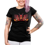 Dragon Master Junior's t-shirt model TeeTurtle black t-shirt featuring a red dragon with its wings up and long horns looking angry and focused with a gamee board in front of him and flames on either side of the game table he is sitting at