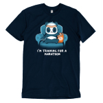 I'm Training for a Marathon t-shirt TeeTurtle navy t-shirt featuring a panda wearing an orange and white sweatband that's sitting on a blue couch and holding a TV remote with his right paw and eating chips with his left paw.