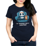 I'm Training for a Marathon Women's t-shirt model TeeTurtle navy t-shirt featuring a panda wearing an orange and white sweatband that's sitting on a blue couch and holding a TV remote with his right paw and eating chips with his left paw.