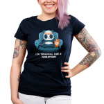 I'm Training for a Marathon Junior's t-shirt model TeeTurtle navy t-shirt featuring a panda wearing an orange and white sweatband that's sitting on a blue couch and holding a TV remote with his right paw and eating chips with his left paw.