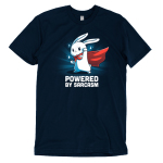 Powered by Sarcasm t-shirt TeeTurtle navy t-shirt featuring a white bunny with a cape on and its left hand fisted in the air