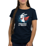 Powered by Sarcasm Women's t-shirt model TeeTurtle navy t-shirt featuring a white bunny with a cape on and its left hand fisted in the air