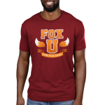 Fox University Men's t-shirt model TeeTurtle garnet red t-shirt featuring the phrase