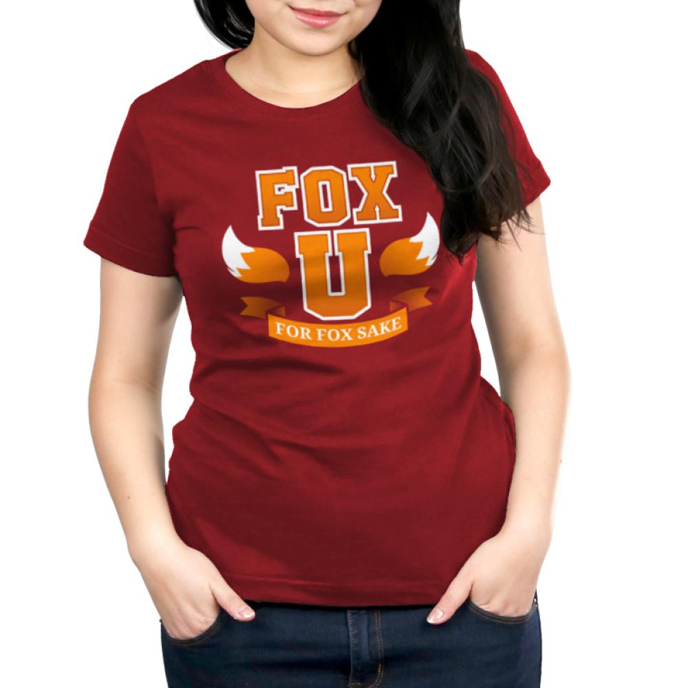 Fox University Women's t-shirt model TeeTurtle garnet red t-shirt featuring the phrase