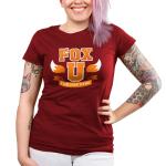 Fox University Junior's t-shirt model TeeTurtle garnet red t-shirt featuring the phrase