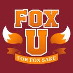 Fox University t-shirt TeeTurtle garnet red t-shirt featuring the phrase