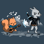 Ballad of the Bard t-shirt TeeTurtle denim blue t-shirt featuring a squirrel with a guitar singing with musical notes around him following behind an annoyed looking wolf with a sword on his back with mountains in the background behind them