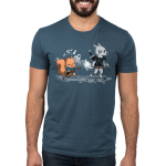 Ballad of the Bard Men's t-shirt model TeeTurtle denim blue t-shirt featuring a squirrel with a guitar singing with musical notes around him following behind an annoyed looking wolf with a sword on his back with mountains in the background behind them
