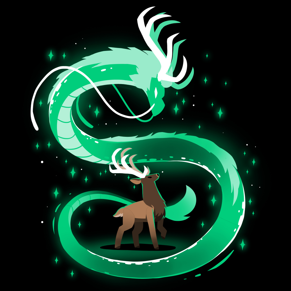 Spirit of the Woods t-shirt TeeTurtle black t-shirt featuring a buck looking up at a green dragon swirling all around him with green stars/sparkles