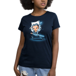 Ahsoka Tano Women's t-shirt model officially licensed Star Wars navy t-shirt featuring Ahsoka Tano from The Clon Wars looking focused holding two blue lightsabers