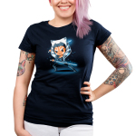 Ahsoka Tano Junior's t-shirt model officially licensed Star Wars navy t-shirt featuring Ahsoka Tano from The Clon Wars looking focused holding two blue lightsabers