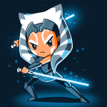 Ahsoka Tano t-shirt officially licensed Star Wars navy t-shirt featuring Ahsoka Tano from The Clon Wars looking focused holding two blue lightsabers