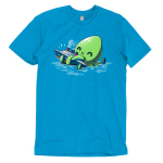 Release the Kraken t-shirt TeeTurtle cobalt blue t-shirt featuring a big green smiling octopus in blue water holding onto a boat with its tentacles