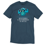 Powerhouse of the Cell t-shirt TeeTurtle denim blue t-shirt featuring a blue mitochondria cell with its big arms flexing and wearing sunglasses