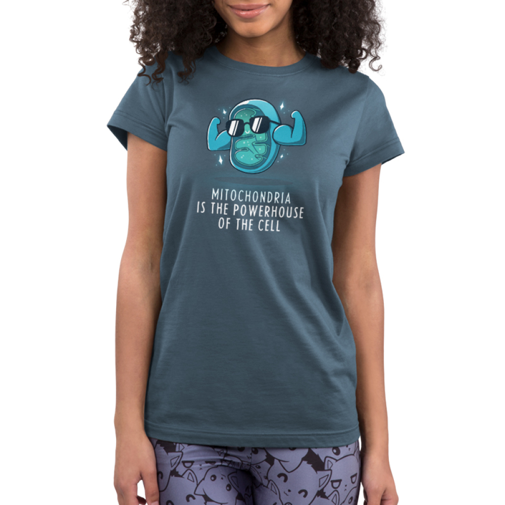Powerhouse of the Cell Junior's t-shirt model TeeTurtle denim blue t-shirt featuring a blue mitochondria cell with its big arms flexing and wearing sunglasses