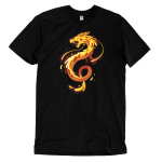 Pizza Dragon t-shirt TeeTurtle black t-shirt featuring an organish yellow twisty dragon with gooey cheese all over it