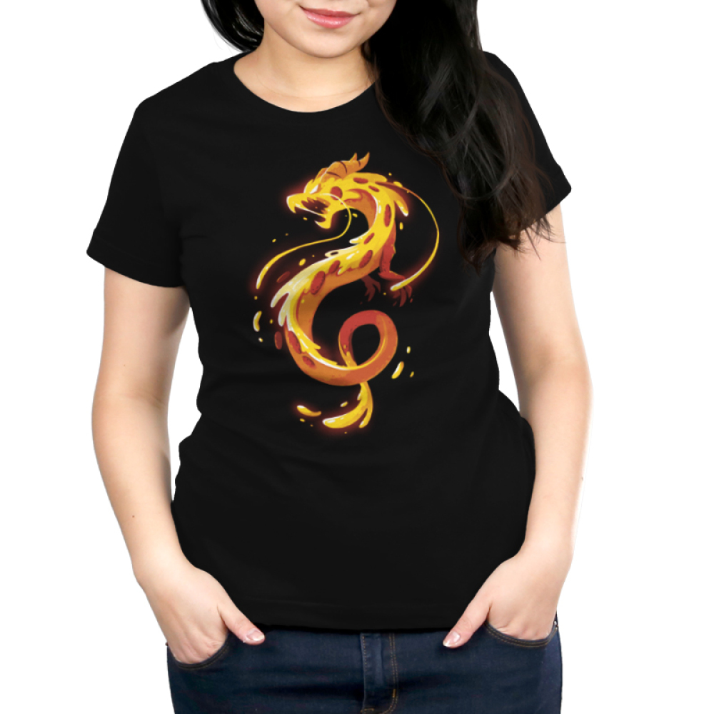 Pizza Dragon Women's t-shirt model TeeTurtle black t-shirt featuring an organish yellow twisty dragon with gooey cheese all over it