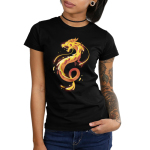 Pizza Dragon Junior's t-shirt model TeeTurtle black t-shirt featuring an organish yellow twisty dragon with gooey cheese all over it