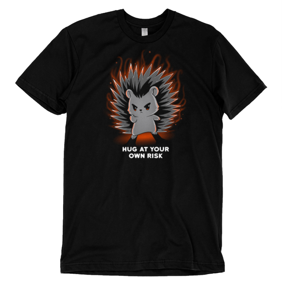 Hug at Your Own Risk t-shirt TeeTurtle black t-shirt featuring a hedgehog with red in its eyes are its finger pointed out