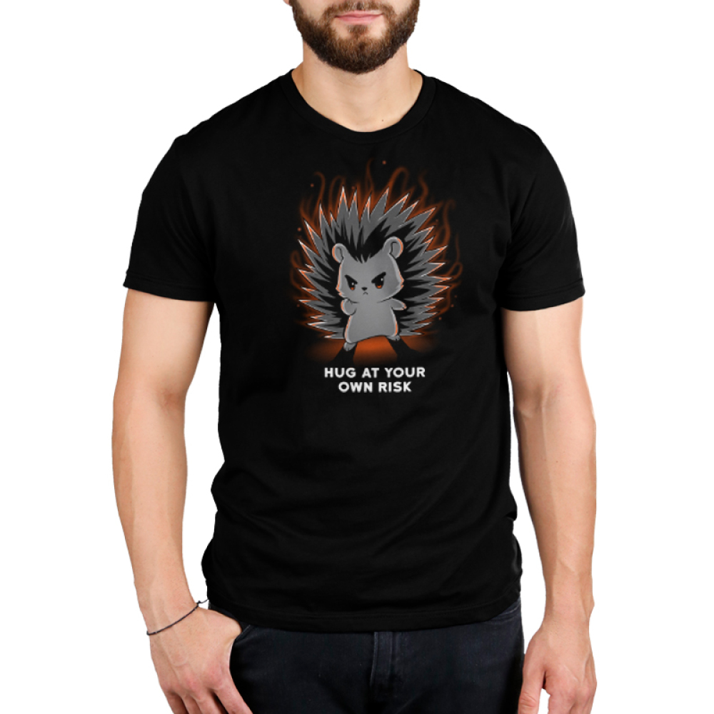 Hug at Your Own Risk Men's t-shirt model TeeTurtle black t-shirt featuring a hedgehog with red in its eyes are its finger pointed out