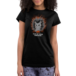 Hug at Your Own Risk Junior's t-shirt model TeeTurtle black t-shirt featuring a hedgehog with red in its eyes are its finger pointed out