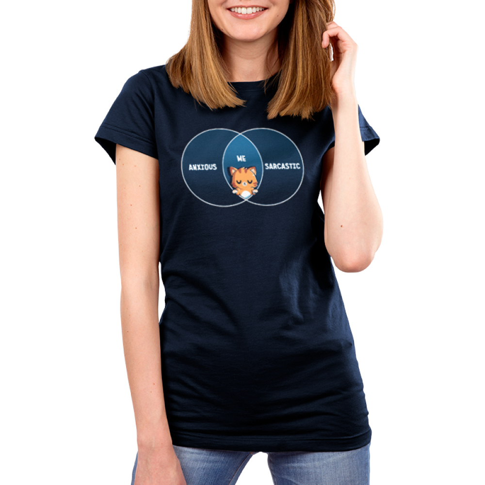 Anxious and Sarcastic Women's t-shirt model TeeTurtle navy t-shirt featuring a cat in the middle of a venn diagram with the word anxious filled on the left,