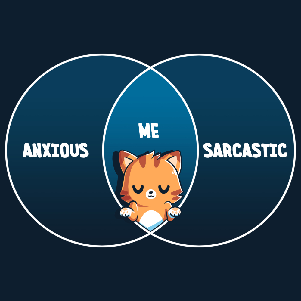 Anxious and Sarcastic t-shirt TeeTurtle navy t-shirt featuring a cat in the middle of a venn diagram with the word anxious filled on the left,