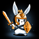 Prepare for Battle t-shirt TeeTurtle black t-shirt featuring a white focused looking bunny holding a gold sword, and tabletop dice shaped shield, with a gold helmet on with triangle dice down the middle of it