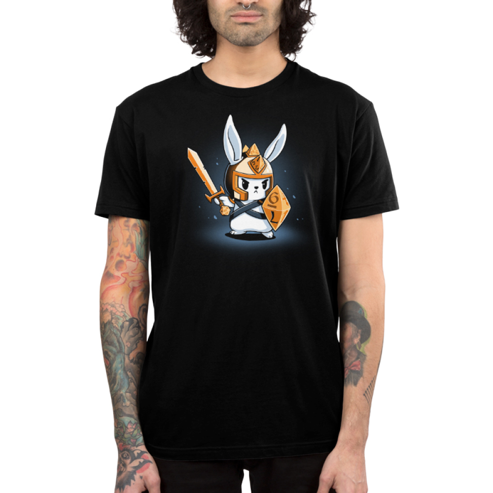Prepare for Battle Men's t-shirt model TeeTurtle black t-shirt featuring a white focused looking bunny holding a gold sword, and tabletop dice shaped shield, with a gold helmet on with triangle dice down the middle of it