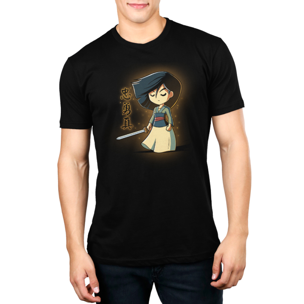Brave, Loyal, and True Men's t-shirt model officially licensed Disney black t-shirt featuring Mulan with a sword in her hand