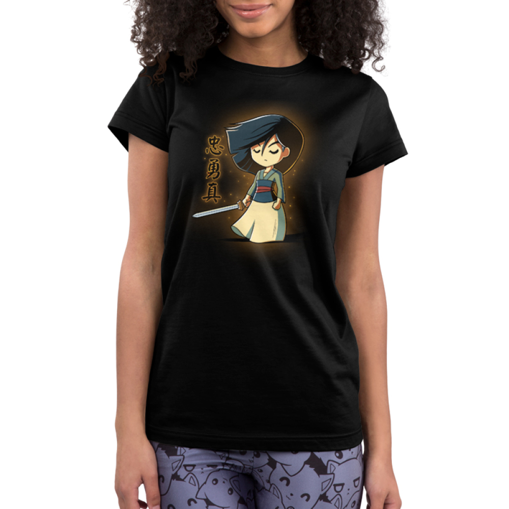 Brave, Loyal, and True Junior's t-shirt model officially licensed Disney black t-shirt featuring Mulan with a sword in her hand