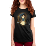 Brave, Loyal, and True Women's t-shirt model officially licensed Disney black t-shirt featuring Mulan with a sword in her hand