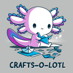 Crafts-o-lotl t-shirt TeeTurtle silver t-shirt featuring a white, blue, and purple axolotl smiling while holding origami with scissors and pieces of paper on the floor next to him
