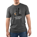 Coffee Before Questions Men's t-shirt model TeeTurtle charcoal t-shirt featuring a tired looking gray cat holding a to-go coffee cup