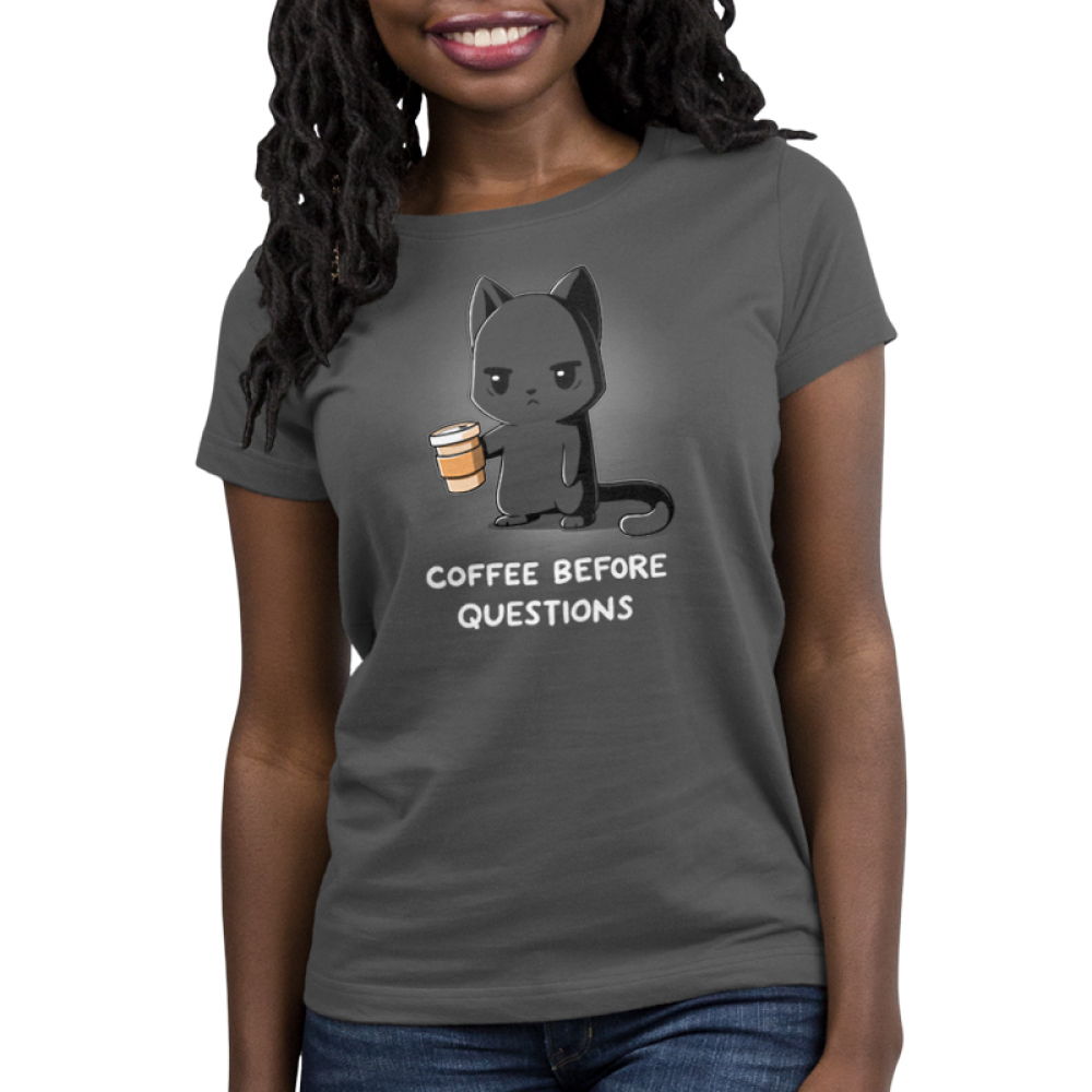 Coffee Before Questions Women's t-shirt model TeeTurtle charcoal t-shirt featuring a tired looking gray cat holding a to-go coffee cup