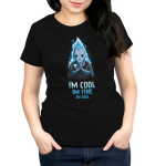 I'm Cool. I'm Fine. I'm Cool. Women's t-shirt model officially licensed black Disney t-shirt featuring blue-flamed Hades from Hercules with his palms together looking grumpy and with a skull resting on his forearm.