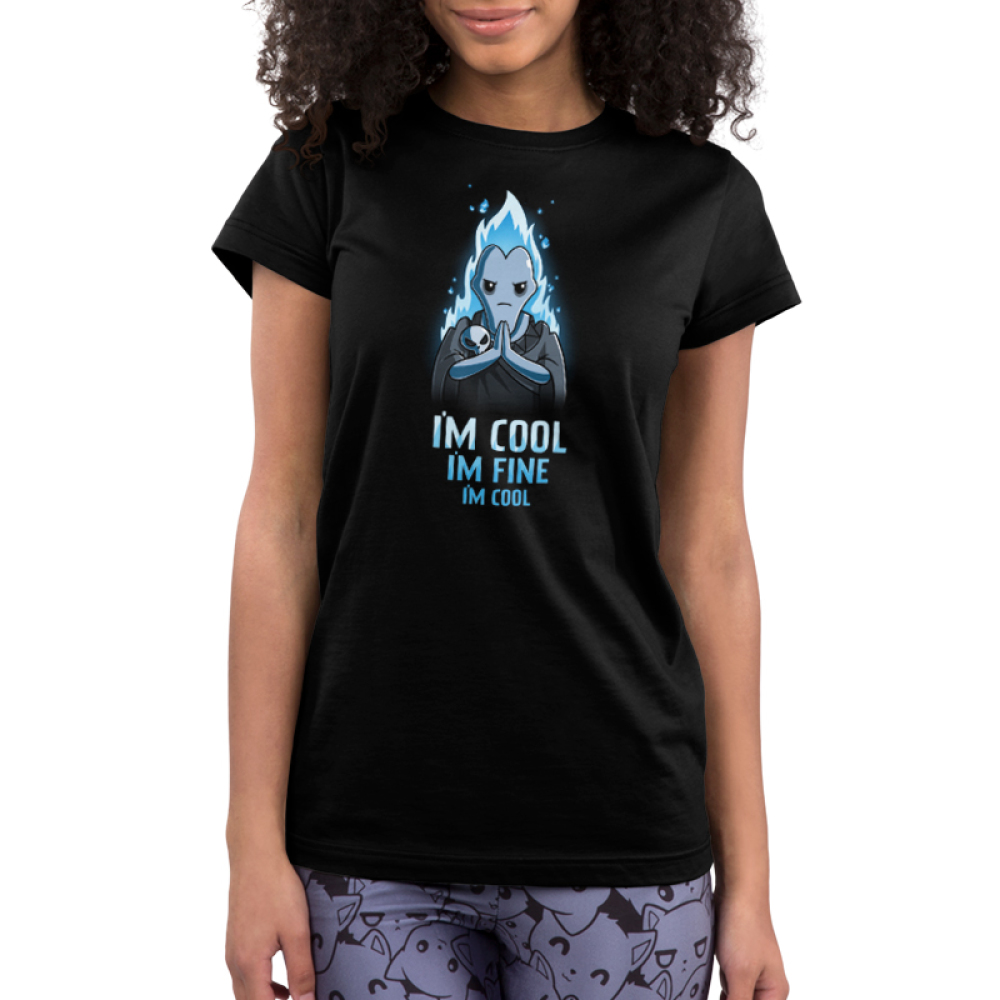 I'm Cool. I'm Fine. I'm Cool. Junior's t-shirt model officially licensed black Disney t-shirt featuring blue-flamed Hades from Hercules with his palms together looking grumpy and with a skull resting on his forearm.