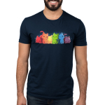 Rainbow Kitties Men's t-shirt model TeeTurtle navy t-shirt featuring a row of cats each in a different color of the rainbow