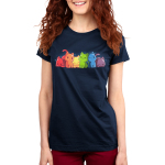 Rainbow Kitties Women's t-shirt model TeeTurtle navy t-shirt featuring a row of cats each in a different color of the rainbow