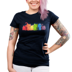 Rainbow Kitties Junior's t-shirt model TeeTurtle navy t-shirt featuring a row of cats each in a different color of the rainbow